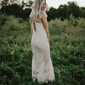 Nude dress with lace detail